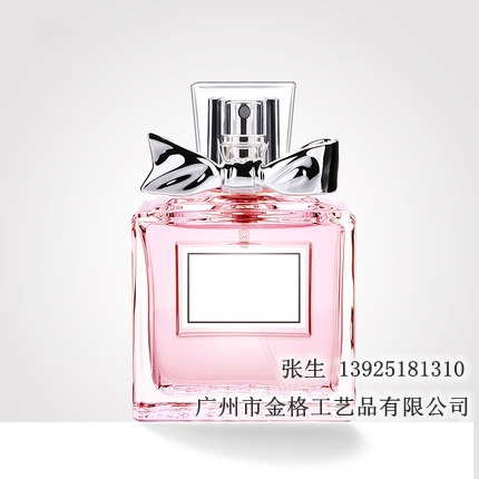女士香水玻璃瓶方形蝴蝶节盖子