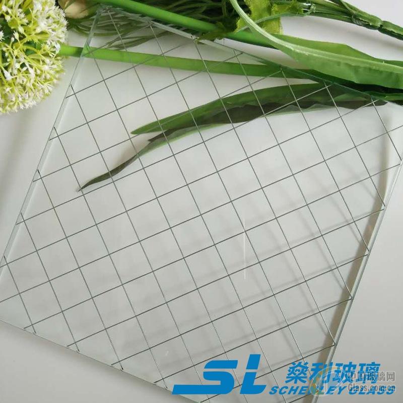 进口高透夹铁丝玻璃 夹钢丝玻璃