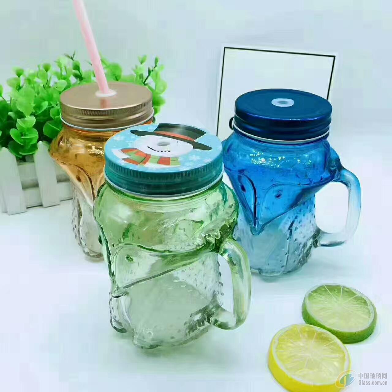 玻璃杯,狐狸把手玻璃杯,吸管杯,喷涂深加工玻璃瓶
