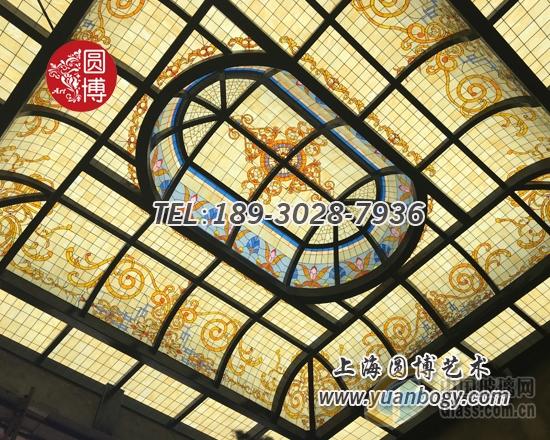 彩色玻璃穹顶彩绘玻璃穹顶专业定制上海圆博