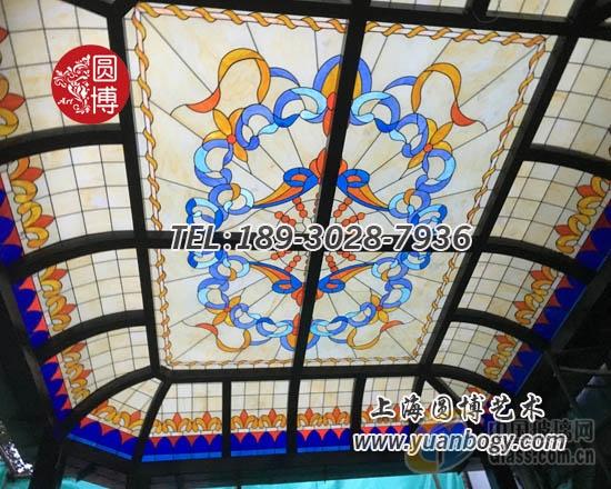 彩色玻璃穹顶彩绘玻璃穹顶专业设计精心制作圆博玻璃