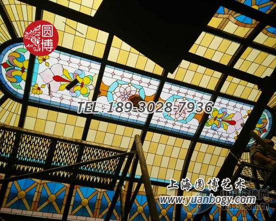 彩色玻璃穹顶彩绘玻璃穹顶精心设计专业打造