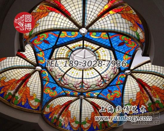 室内彩色玻璃穹顶彩绘玻璃穹顶私人订制