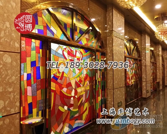圆博工艺私人订制酒店彩色玻璃门窗彩绘玻璃门窗