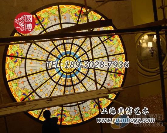 彩色玻璃穹顶彩绘玻璃穹顶专业穹顶制作厂家圆博玻璃