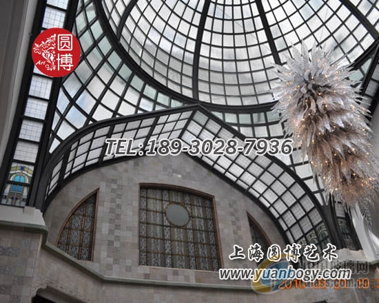 彩色玻璃穹顶彩绘玻璃穹顶专业厂家上海圆博