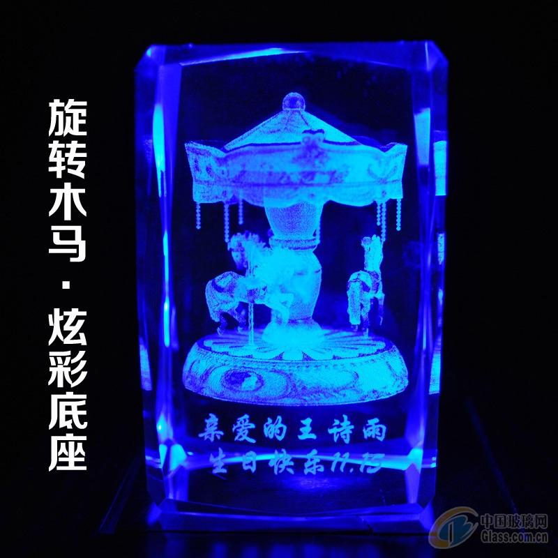 3D水晶内雕激光雕刻水晶工艺品定制摆件