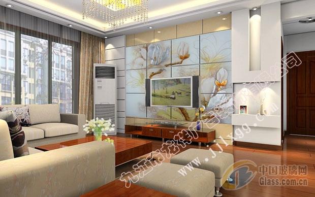 艺术玻璃电视背景墙图片-玻璃图库-中国玻璃网