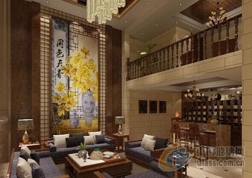 嘉佳美新中式过道背景墙--稳重之美