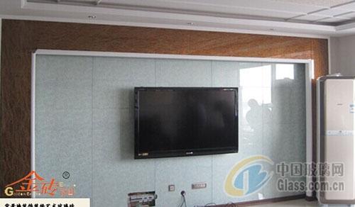 电视机艺术玻璃背景墙装饰装修案例三(图)