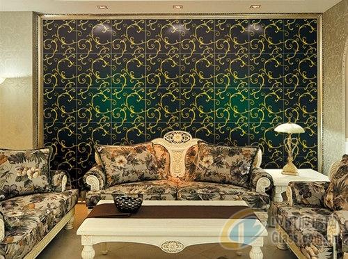 高档欧式黑色花纹艺术玻璃沙发背景墙面砖