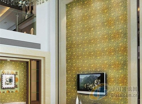 豪华欧式别墅金色电视机背景墙