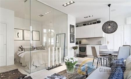 赏独玻璃隔断的妙用(图),玻璃隔断,家居装修,小公寓