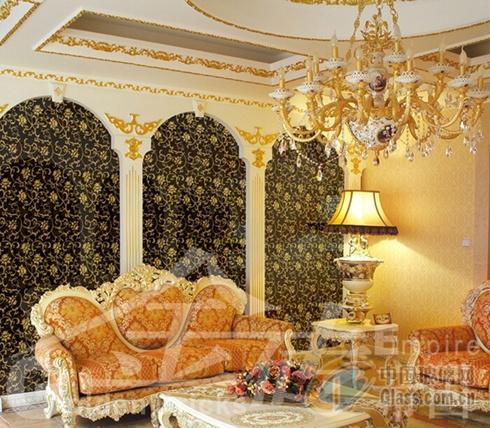 黑色高档欧式别墅客厅背景墙艺术玻璃镜