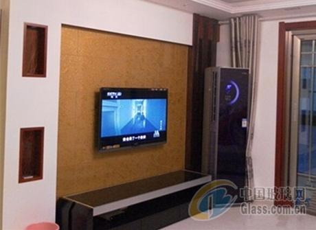家居酒店别墅简约电视机背景墙装修艺术玻璃