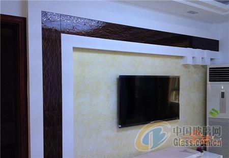 艺术玻璃装修电视机背景墙