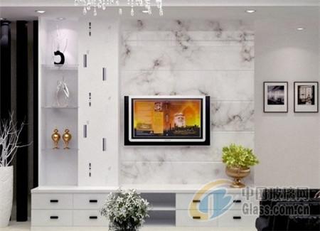 玻璃电视墙装修效果图:大理石电视背景墙 干净清爽