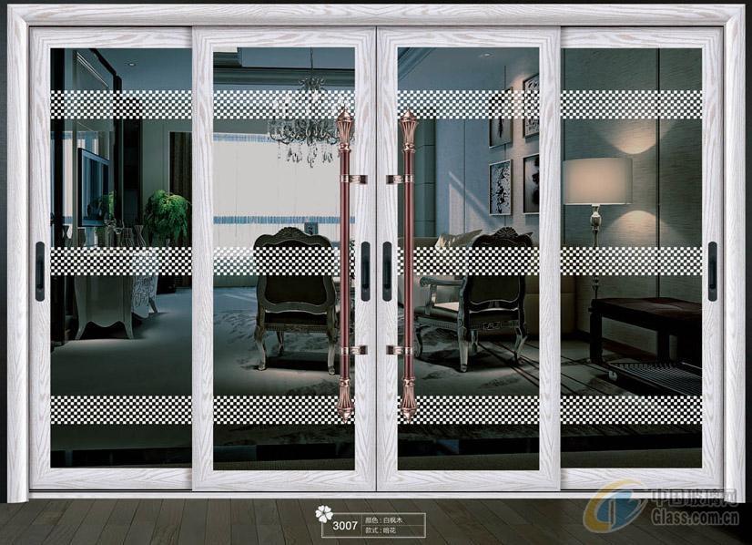 客厅欧式实木玻璃四扇移门图片