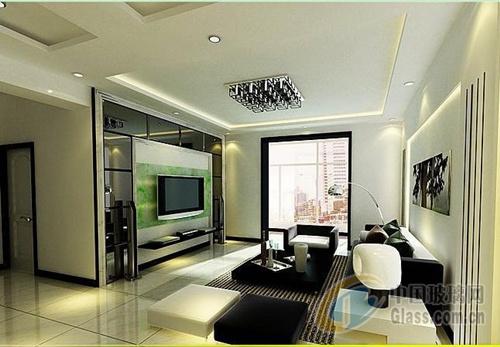小户型客厅玻璃电视背景墙效果-玻璃资讯-中国玻璃