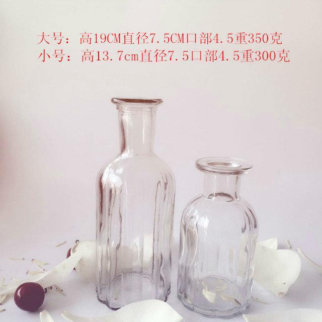 【简约复古欧式玻璃花瓶小口竖条】报价