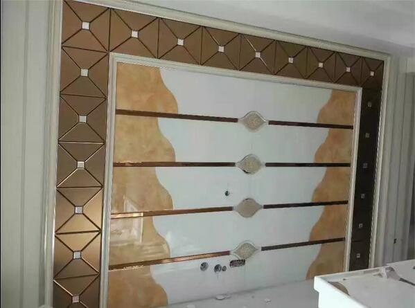 电视背景墙效果图-玻璃拼镜-中国玻璃网