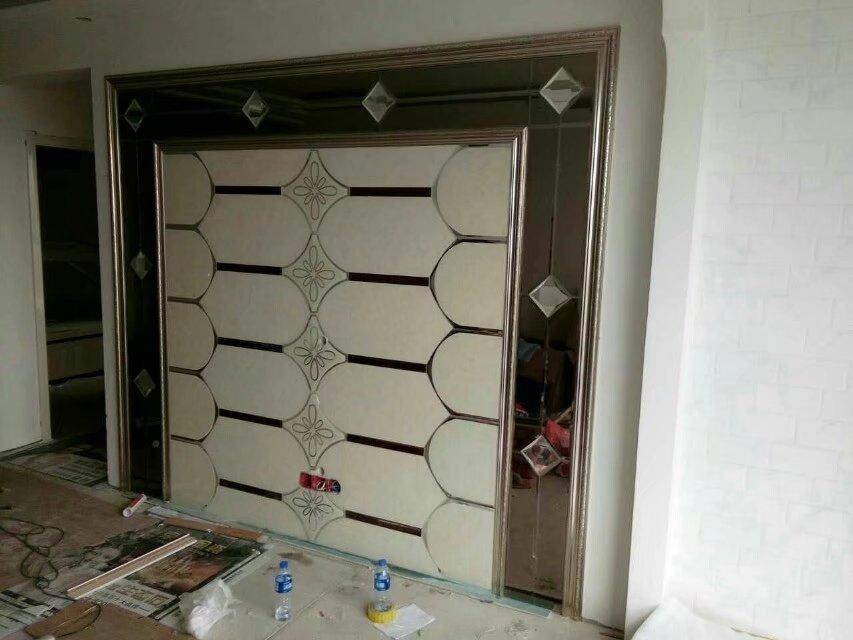 焕彩玻璃艺术拼镜玻璃电视背景墙