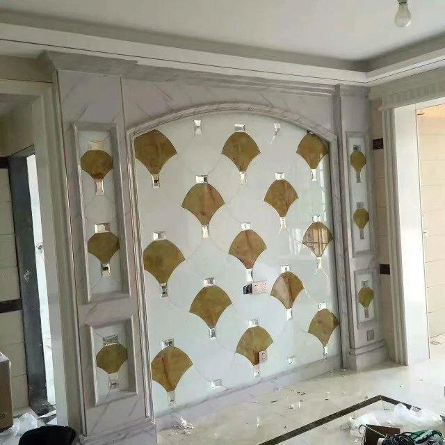 厂家直销理石纹玻璃 拼镜背景墙