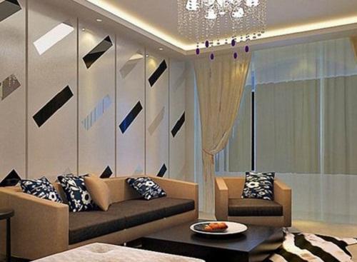 立体效果的玻璃作为电视背景墙的装饰材料,将立体感完美的