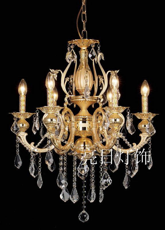 挣信誉,欧式金色水晶蜡烛吊灯 lr-6015-6