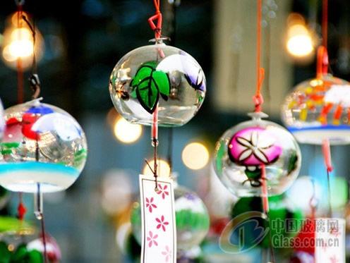 日式玻璃风铃 江户玻璃风铃 玻璃工艺品图片