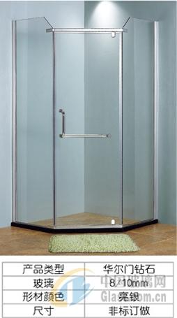 效果图,产品图   简易淋浴房云诗卫浴扇形浴室隔断   金色扇