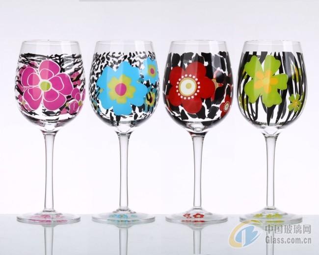手绘 彩绘图案 玻璃杯