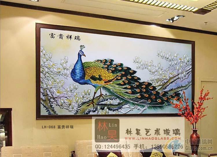 背景墙装饰玻璃 富贵祥瑞-雕刻玻璃-中国玻璃网