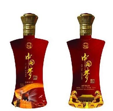 最新产品红色中国梦玻璃酒瓶供应