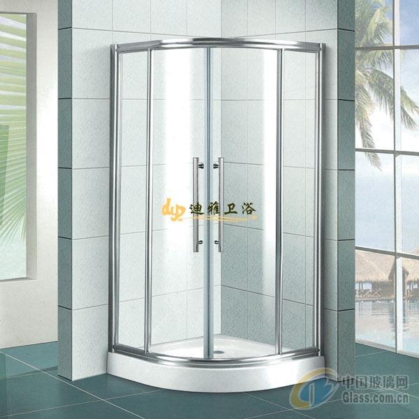 小轮中间带立柱圆弧形淋浴房-淋浴房-中国玻璃网