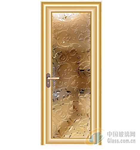 凹蒙钛金木门平开门艺术玻璃