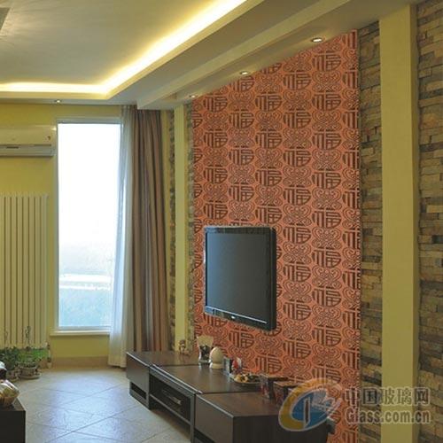 中式風格客廳隔斷裝飾藝術玻璃