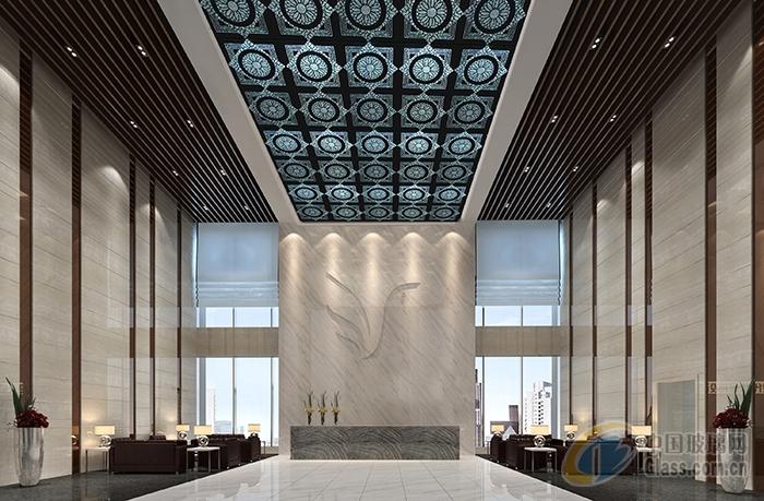 会所大厅床头背景墙装饰艺术玻璃