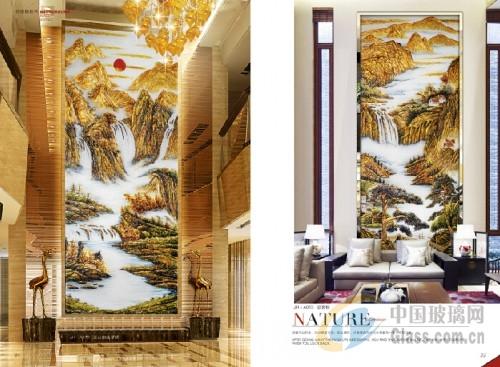 广州艺术玻璃山水画欧式吉祥图