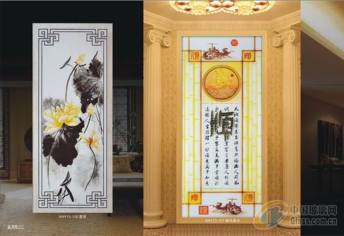 中国十大艺术玻璃玄关隔断背景