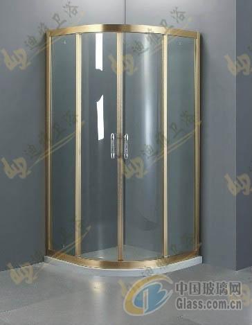 卫浴洁具玻璃 > 圆形金色拉丝淋浴房