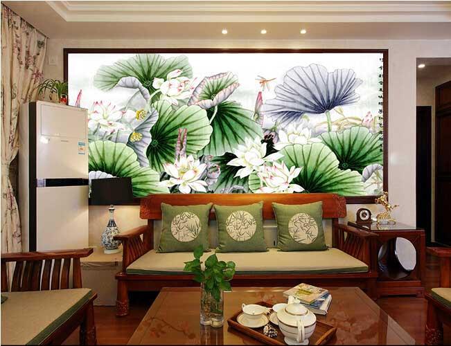 彩釉艺术玻璃沙发背景墙