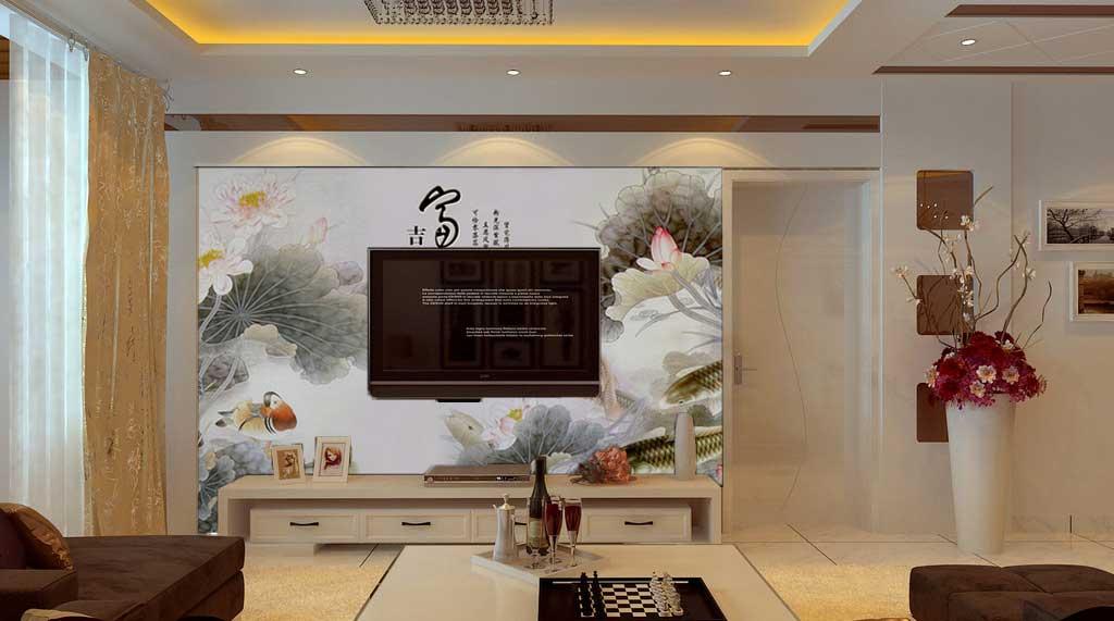 中式风格电视背景墙艺术玻璃图片