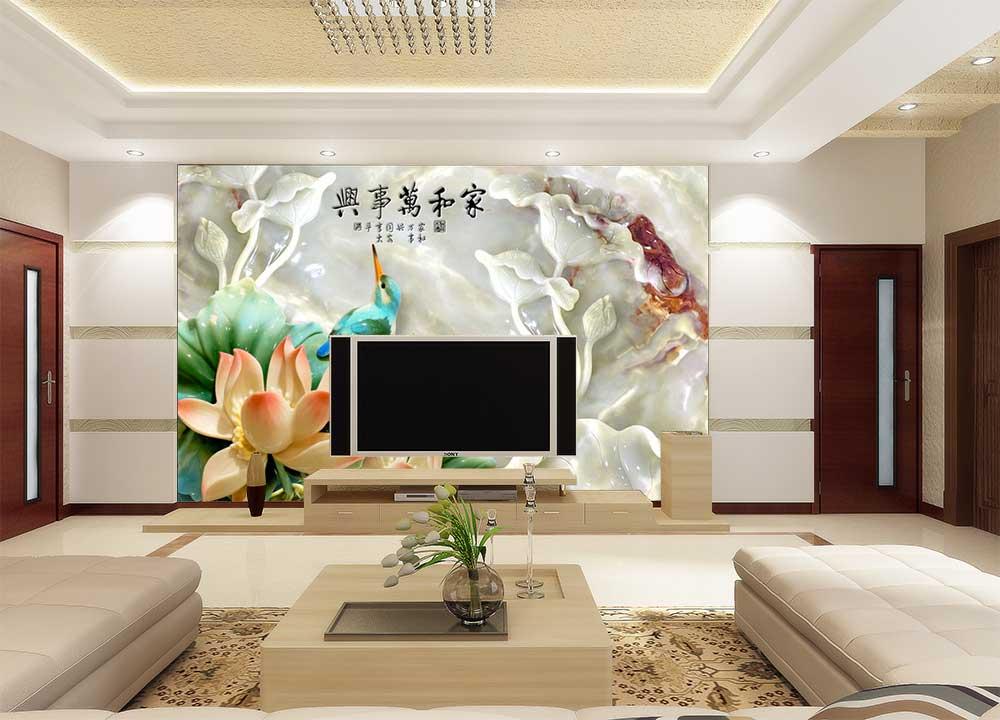 高档现代化彩雕电视背景墙