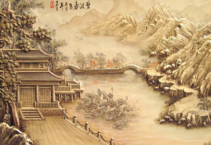 高清浮雕中式古典山水风光壁画图片