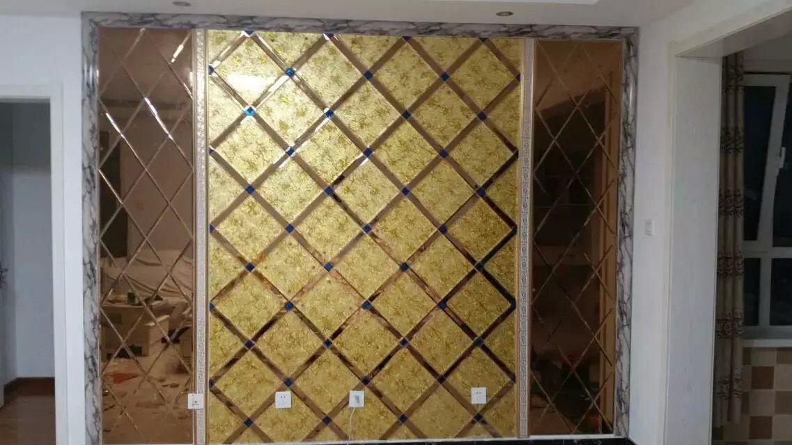 特价艺术玻璃背景墙菱形镜餐厅茶