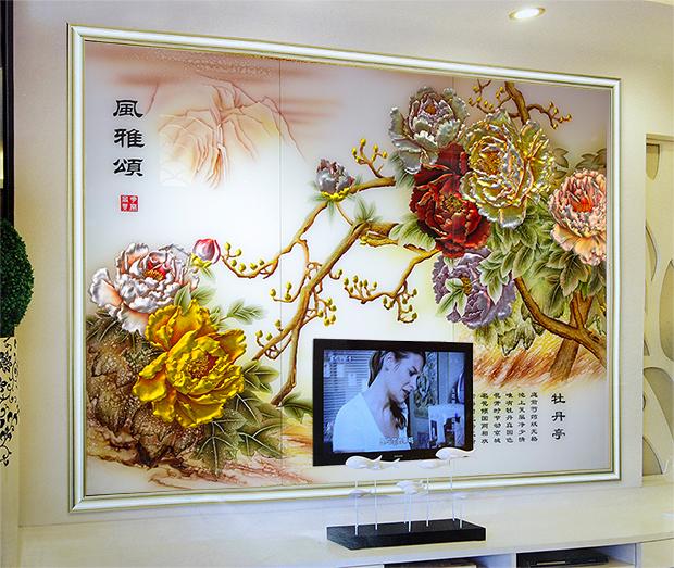 电视背景墙艺术玻璃风雅颂