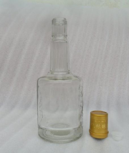 高档透明玻璃白酒瓶双龙雕刻