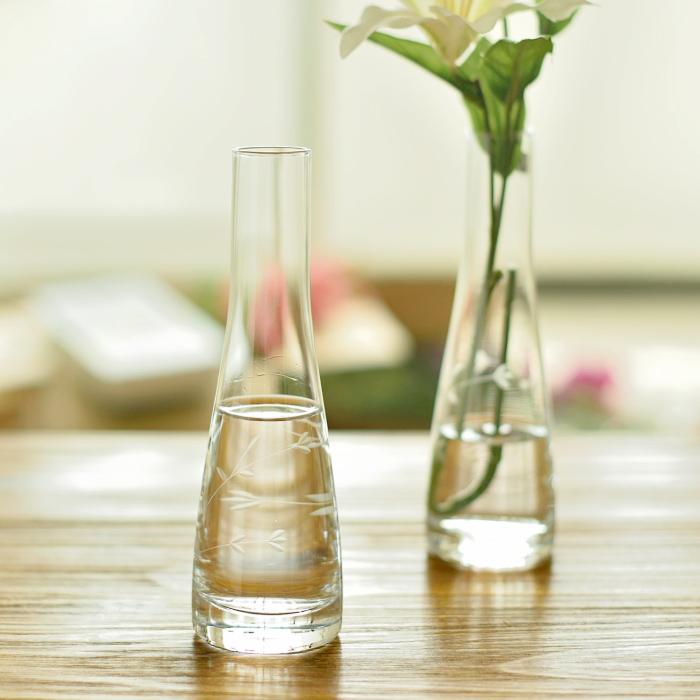 手工雕花小树叶花瓶玻璃透明