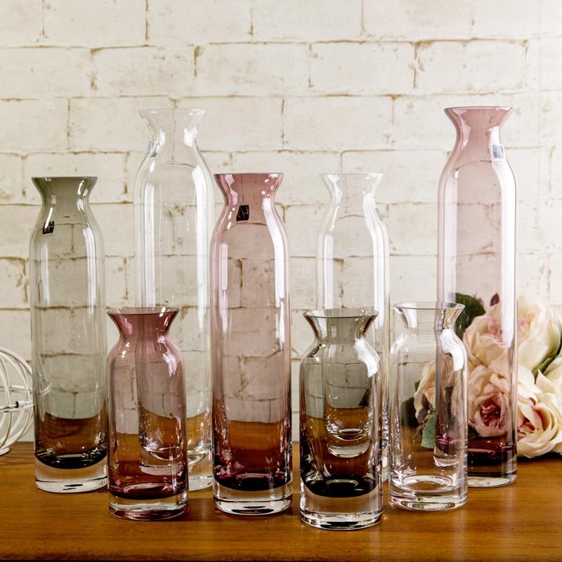 创意欧式玻璃漏斗瓶口直筒花瓶